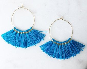Turquoise Tassel Hoop Earrings