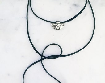 Leather bolo, leather choker, leather lariat, disc wrap necklace