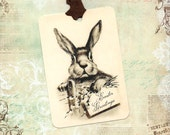 Easter Gift Tags, Rabbit Tags, Vintage Style, Party Favors, Easter Greetings