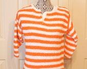 Vintage 1970s Diane Von Furstenberg orange and white striped sweater