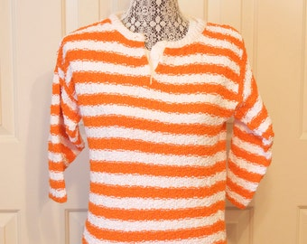 Vintage 1970s Diane Von Furstenberg orange and white striped sweater