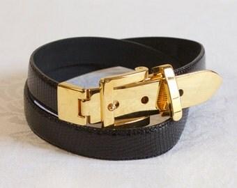 Vintage womens Black Lizard Belt size small/medium