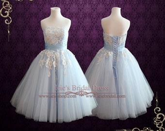 Ice Blue Retro 50s Tea Length Formal Prom Dress   Sweet Sixteen Dress   Light Blue Wedding Dress   Reception Wedding Dress   Kelsey