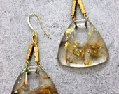 Trendy Triangular Gold Flake Gold Fleck Resin Dangle Earrings on Gold Plated Hooks in Clear, Brown and Gold