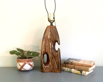 Vintage Faux Bois Lamp, Wood Ceramic Lamp