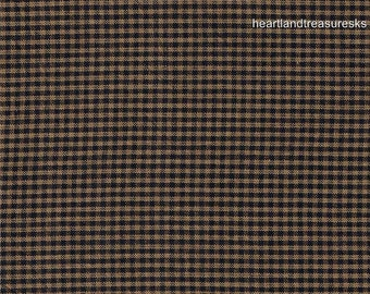 Primitive Dunroven House  H-23 Homespun Mini Navy Blue Plaid Fabric  1/2 Yard Cut Off The Bolt