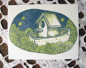 Single Letterpress Postcard Boat at Night with stars