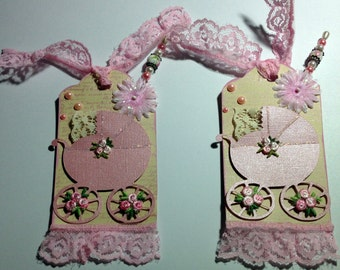 2 Baby Carriage Pink Baby Girl Carriage Stroller Handmade Tags