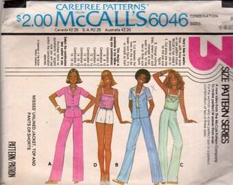 Vintage 1978 McCalls 6046 Ladies shorts, pants, and blouse pattern Size 6-10