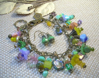 Czech And Vintage Bead Flower Antiqued Brass Charm Bracelet With Matching Dangle Earrings