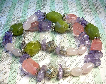Gemstone and Sterling Silver Boho Candy Nugget Necklace With  Green Serpentine, Cherry & Purple Quartz