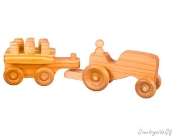 Wooden Toy Farm Tractor w/ Puzzle Cart