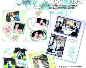 Paper Pizazz Pen & Ink Floral Scrapbook Stamping Pre-printed Flower Sheets Shades of Pink Yellow Blue Green Craft Book