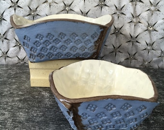 Ceramic Chip and Dip Serving Bowl Set in Sky Blue and Chocolate Brown Clay