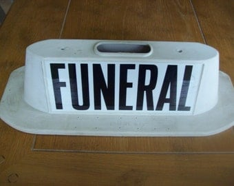 Vintage Rubber FUNERAL Sign With Magnets for Car Top Halloween Decoration