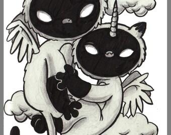 Day #149 - Siamese - Cat twin unicorn siamese original sketch a day drawing! 5.5 x 8.5