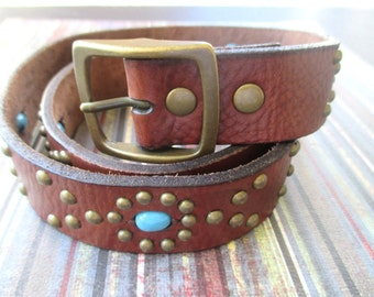 FOSSIL Leather Belt * Brown * Turquoise Stones * Sz Large