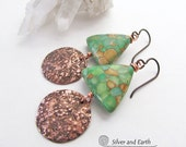 Mosaic Turquoise Earrings, Copper Earrings, Rustic Earthy Jewelry, Stone Triangle Earrings, Handmade Artisan Metalwork Geometric Jewelry