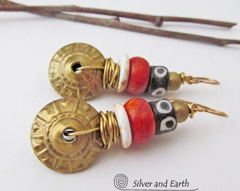 African Tribal Earrings, Vintage Brass Earrings, Bohemian Tribal Jewelry, Red and Gold Earrings, Ethnic African Jewelry, Boho Chic Earrings