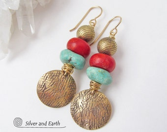 Red Coral & Turquoise Earrings, Brass Tribal Earrings, Colorful Boho Earrings, Artisan Handmade Bold Exotic Bohemian Boho Tribal Jewelry