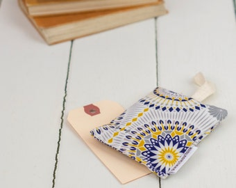 Dime Lavender Bag, modern geometric design with blue, navy, yellow, mustard and grey pattern, made in UK, free UK postage, sleep aid