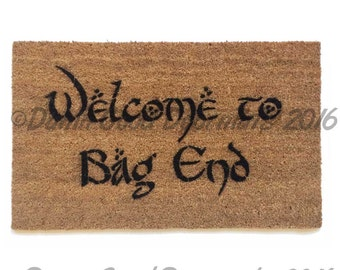 Bilbo Welcome to Bag End doormat Tolkien outdoor geek stuff