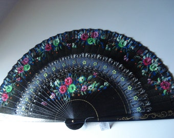 Vintage Large Black Hand Painted Spanish Flamenco Hand Fan Abanicos Flowers Floral