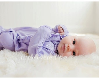 Baby Girl Coming Home Outfit- Lisa's Lavender Side Ruffled Footed Sleeper- New Baby-Newborn Pictures-baby Shower Gift-Newborn girl