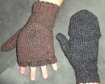 Convertible Mittens Gloves, Uninterrupted Crochet Pattern Glittens Fingerless PDF Changeable Flap Button texting no fingers women men
