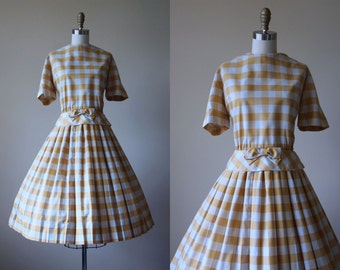 50s Dress - Vintage 1950s Dress -  Darling Mustard Yellow Plaid Cotton Reverse Shirtwaister M L - Honeyed Dress