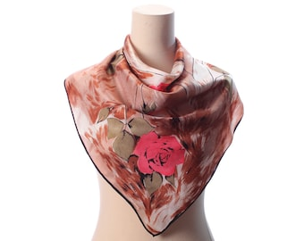 Beautiful BOHO Satin Scarf 60s Red ROSES Printed Rustic Beige 1960s Bohemian 26 X 26 in Floral Print Vintage Mod Mad Men Bold Flowers Shawl