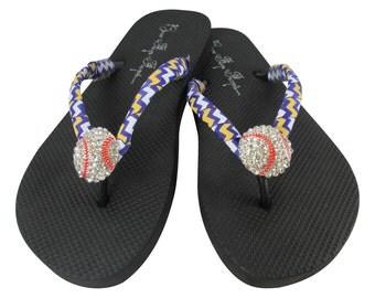 Purple & Gold Chevron Baseball Flip Flop Sandals with rhinestone bling- ribbon team colors/ Baseball Mom
