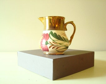 Copper lustreware cream pitcher, Wade Harvest Ware, pink & purple flowers, collectible English porcelain