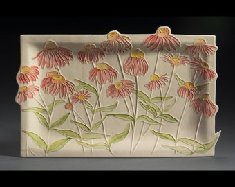Large Ceramic Watercolor Purple Coneflower Wall Hanging sculpture by Faith Ann Originals