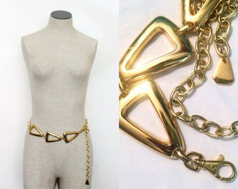 Vintage Chunky Link Chain Necklace or Belt - Gold - 1980s - Statement - One Size