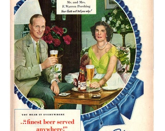 1949 Pabst Blue Ribbon Beer Vintage Ad, Warren Pershing, Retro Beer Ad, 1940's Fashion, 1940's Decor, Advertising Art, Great to Frame.