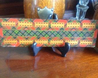 Vintage  Tartanware Mauchline Cribbage Board