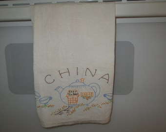 Vintage  Embroidered Linen Teapot Decor Tea Room Dish Cloth Towel Cottage Chic Farmhouse Farm House Country Home Traditional
