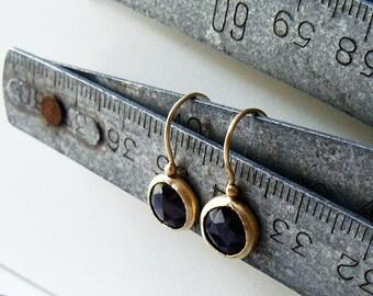 14 Karat Gold Sapphire Earrings / Gold Sapphire Earrings / Sapphire Earrings / Handmade Earrings / Sapphire Dangle Earrings / Birthday Gift