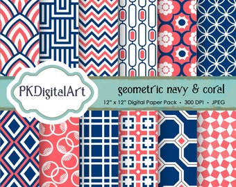 """Geometric Digital Paper - """"Geometric Navy & Coral""""  Scrapbook Paper Backgrounds Design Projects Crafting Supplies in Navy Coral"""
