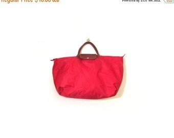 BTS SALE Vintage 90s Oversized APPLE Red  Nylon Duffel Bag Tote Weekender