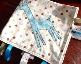 Baby Blanket Lovey/Blue Brown Aqua White Baby Boy Lovey Lovie Blanket/READY TO SHIP/Flannel Baby Lovey/Giraffe Applique/Giraffe Baby Blanket