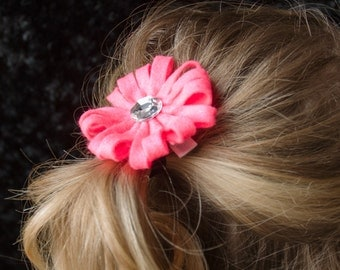 Hair Bow - Hot Pink Felt Daisy Style Flower Clip with Rhinestone Center