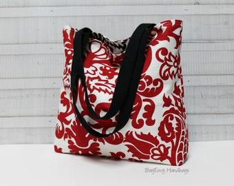 Amsterdam Damask Red and Black Reversible All Purpose Tote Bag