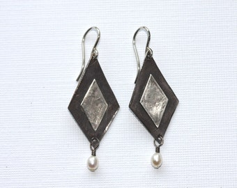 geometric silver earrings with white pearl