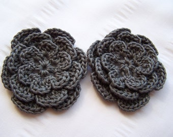Flower crochet motif 2.5 inch cotton gray