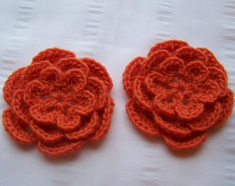 Crocheted flower 3 inch marmalade orange wool set of 2 flowers flower motif