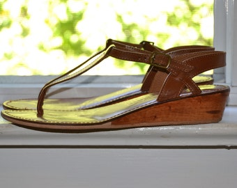 Vintage Wedge Sandals - Thong Style with Wood Heels - All Leather - Size 8