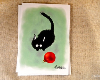 Black Cat with Christmas Ornament Greeting Card - Sammy Pounces an Ornament Illustration