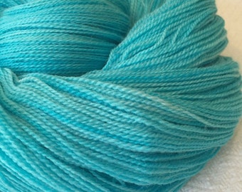 hand dyed lace weight yarn silk yarn Turquoise Teal Blue Green Kiss from a Mermaid merino silk 875 yards